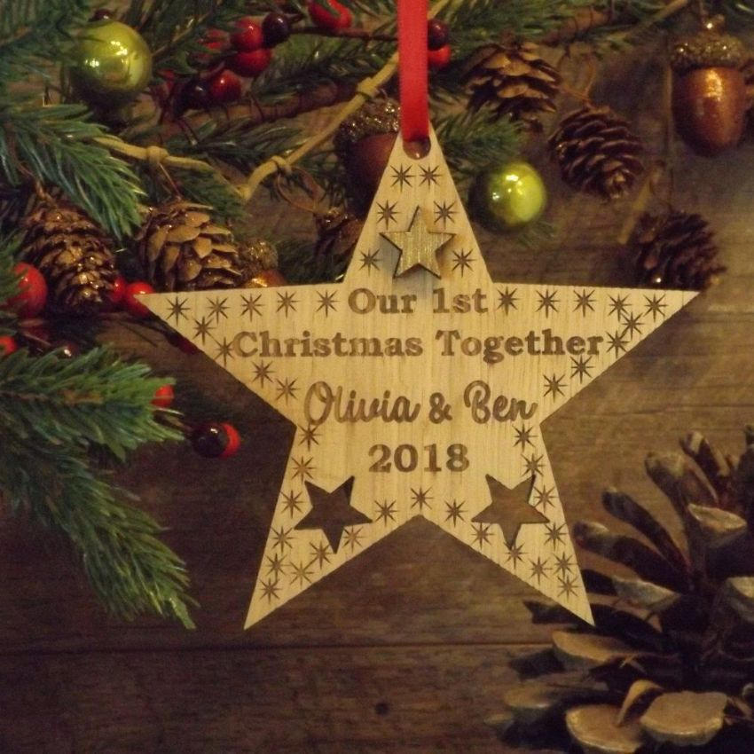 Our First 1st Christmas Together Personalised Star Decoration Gift